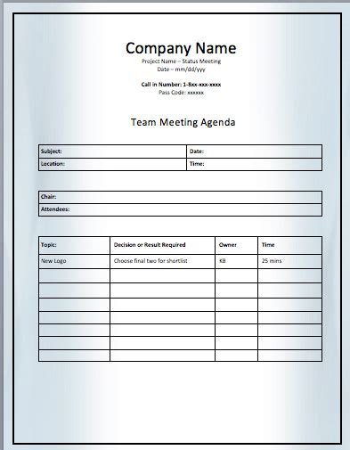 topic template project team meeting agenda template printable meeting