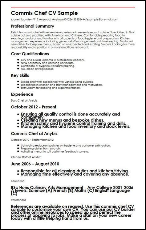 curriculum vitae format for mis executive commis chef cv sle myperfectcv