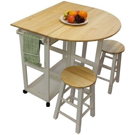 Folding Table For Kitchen White Pine Wood Breakfast Bar Folding Kitchen Table And Stool Set New Pistachios Kitchen