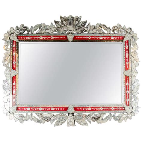 Venetian Home Decor spectacular grand venetian mirror with inset ruby red