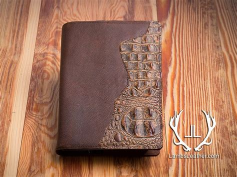 Handmade Bibles - leather bible cover genuine leather crocodile embossed