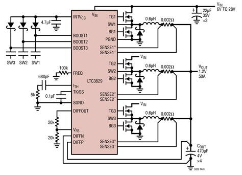 Ltc3829 3 Phase Single Output Synchronous Step Down Dc Dc