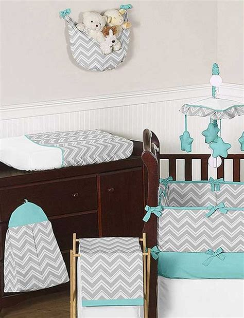Grey And Turquoise Crib Bedding Zig Zag Turquoise Gray Chevron Print Crib Bedding Set Blanket Warehouse