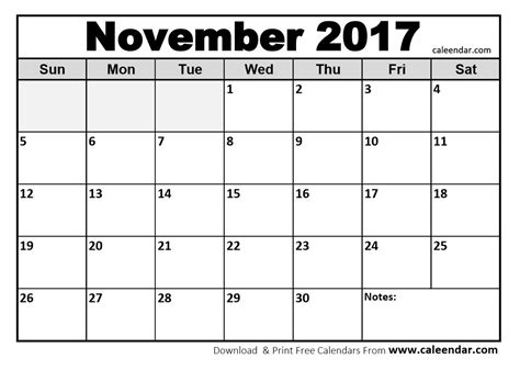 printable monthly calendar november and december 2017 free november 2017 calendar printable templates