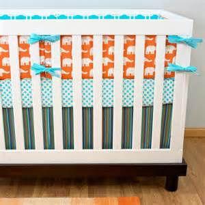 crib bedding baby bedding aqua orange teal elephant by
