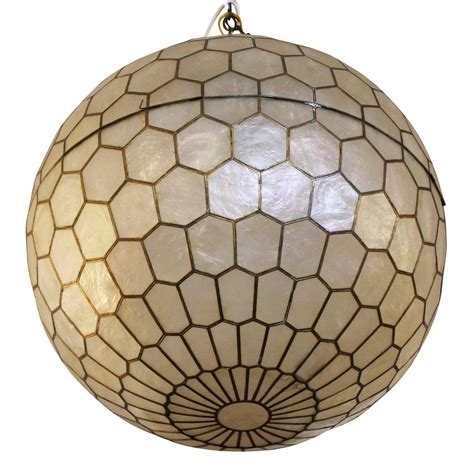Capiz Shell Light Fixtures by Stunning Capiz Shell And Brass Globe Chandelier At 1stdibs
