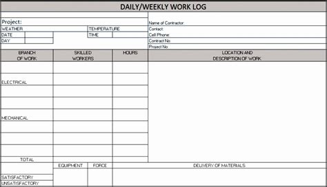8 Project Work Log Template Sletemplatess Sletemplatess Project Daily Log Template Excel