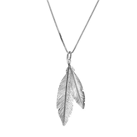 silver feather pendant azendi jewellery
