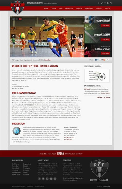 Joomla 2 5 Custom Web Design Template For Rocket City Futbol An Indoor Futsal Soccer League In League Website Template