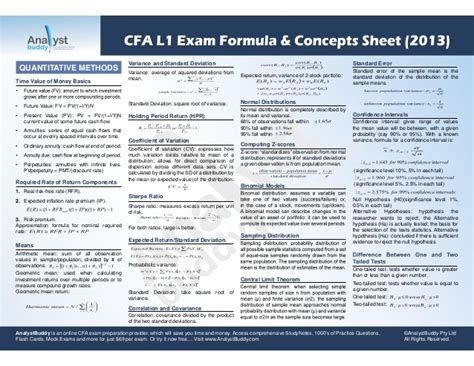 Trade Credit Formula Cfa Cfa L1 Formula Concepts Sheet 2013