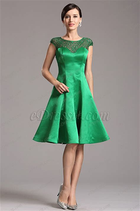 edressit capped sleeves illusion sweetheart green cocktail