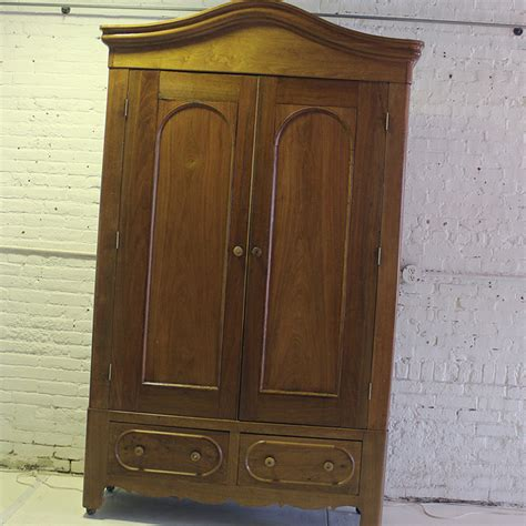 vintage armoire wardrobe antique walnut bonnet top armoire wardrobe