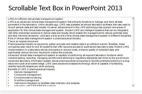 Powerpoint Scrolling Text How To Create A Scrollable Text Box In Powerpoint 2013
