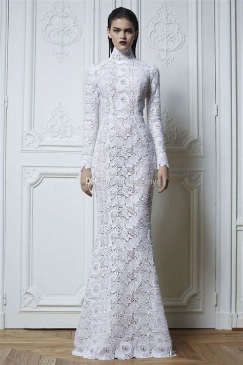 Sleeve High Neck Dress wedding dresses with sleeves and high neck discount
