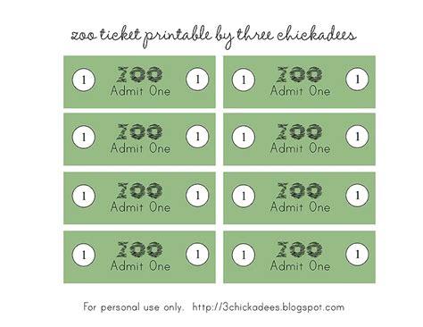 printable play tickets three chickadees zoo pretend play free printables