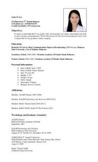 resume format for management students resume sle for ojt free large images