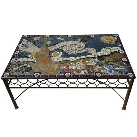 Moroccan Style Home Studio Mid Century Mosaic Tile Coffee Table Van Gogh Style