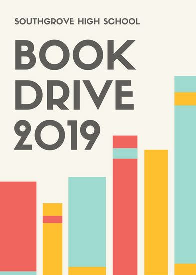 Red Yellow Blue Book Drive Fundraising Flyer Templates By Canva Book Donation Template