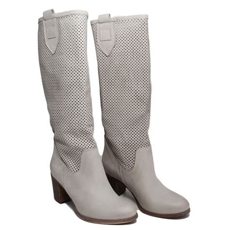 high boots perforated leather gray heels made in italy