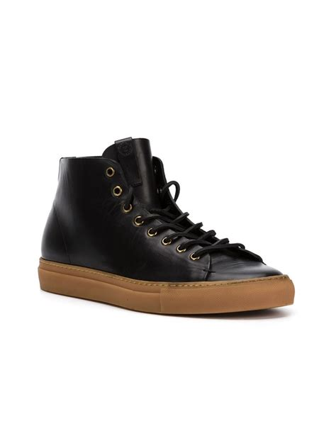 hi top shoes for lyst buttero tanino hi top sneakers in black for