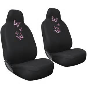 Girly Car Seat Covers Ebay 2pc Set Butterfly Pink Girly Black Car Seat Cover Front