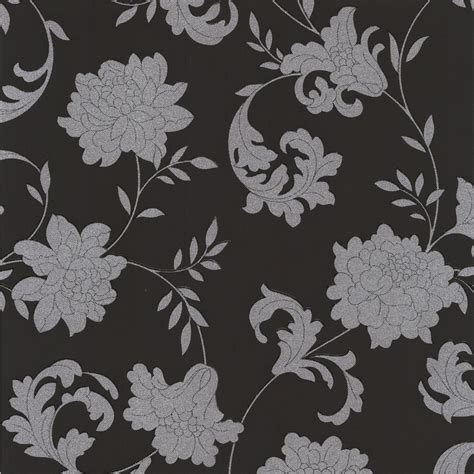 black and white floral wallpaper b q laurence llewelyn bowen silks black silver floral
