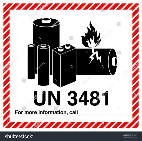 Un 3481 Aufkleber Download by Lithium Ion Battery Shipping Label Vector Stock Vector