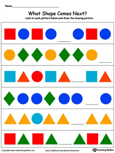 pattern shapes pictures early childhood patterns worksheets myteachingstation com