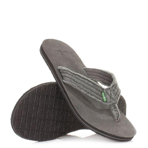 12 Flip Flops by Mens Sanuk Fraid Not Grey Textile Comfy Flip Flops