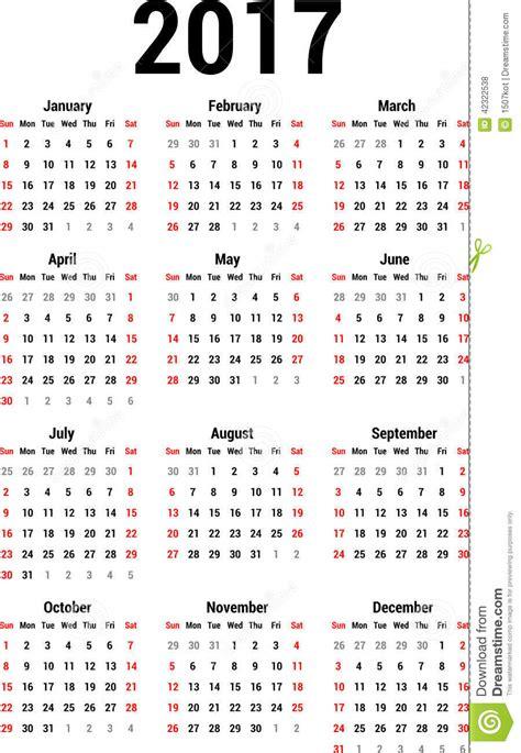 Calendario N Calendario 2017 Ilustraci 243 N Vector Imagen 42322538