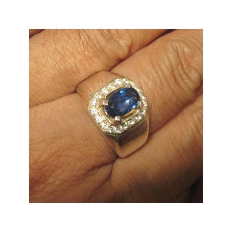 Ring Pria cincin pria batu safir ceylon silver ring 8us exclusive