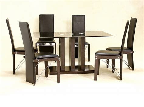 Black Glass Dining Table And Chairs Black Glass Dining Table And 6 Chairs Large Homegenies