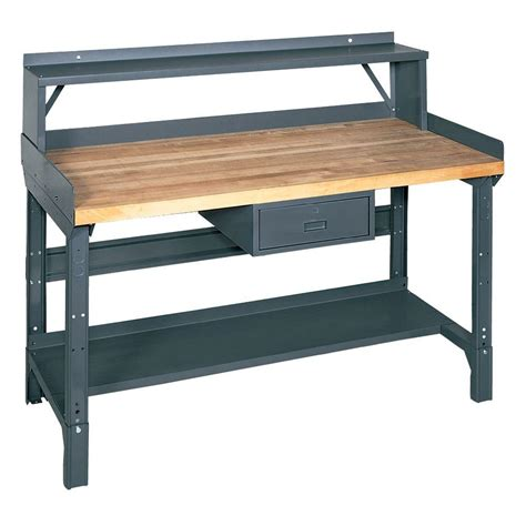 workers bench edsal 72 in w x 36 in d workbench with storage 1411m