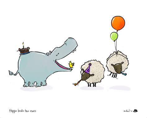Hippo Birdie Birthday Card