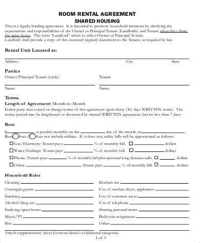 room for rent contract room for rent contract 8 exles in word pdf
