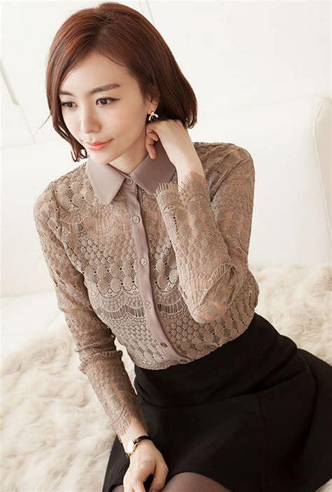 Blouse Motif Unggu Biru Korean Style secret2girls lace pattern blouse kstylick korean fashion k pop styles fashion