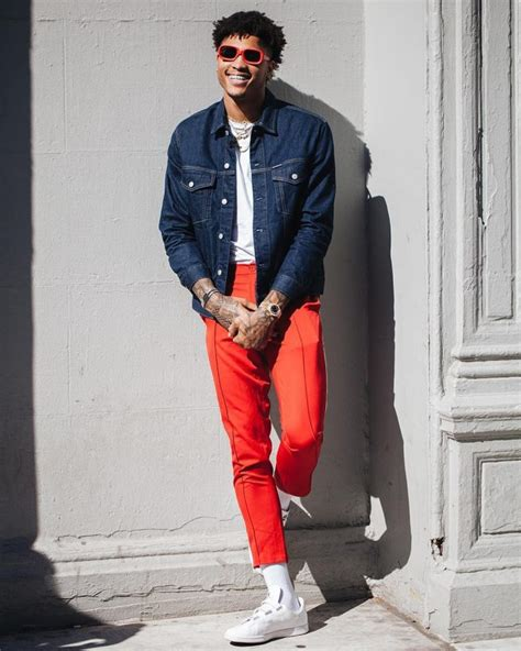 oubre jr wears calvinklein denim jacket ovadia and sons and raf simons x adidas