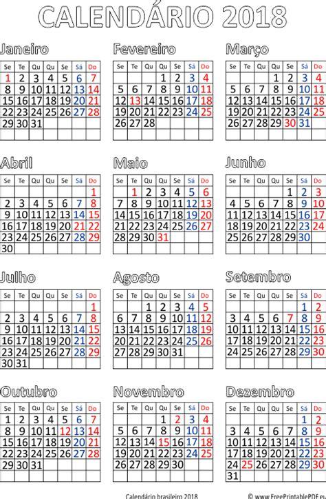 Calendar 2018 Pdf File Calend 225 2018 Impress 227 O Brasil Pdf Para Impress 227 O Livre