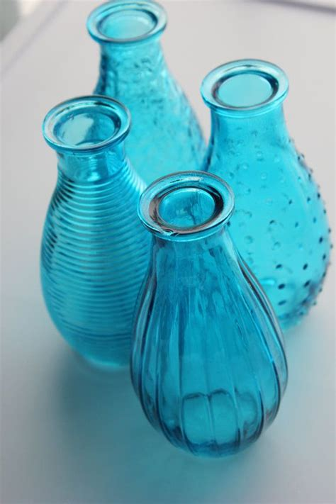 Aqua Blue Glass Vases by Set Of 4 Four Aqua Blue Bottles Bud Vase Glass Vases Mini