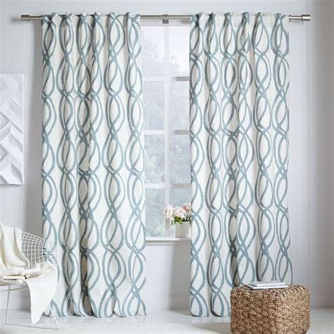 lattice curtain cotton canvas scribble lattice curtains set of 2 blue