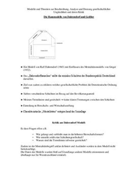 dahrendorf haus referat 252 ber die hausmodelle dahrendorf und gei 223 ler