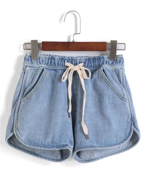 Drawstring Shorts drawstring with pockets denim shorts makemechic