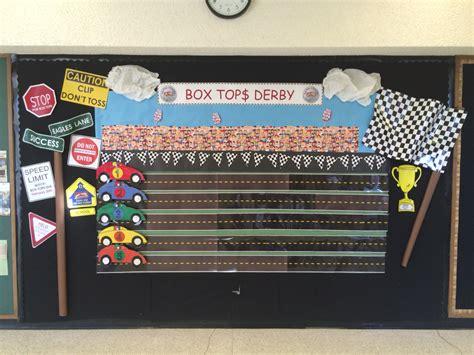 box tops race track bulletin board creations