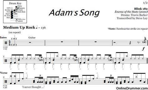 blink 182 adam s song adam s song blink 182 drum sheet onlinedrummer