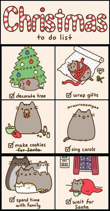 pusheen cat christmas to do list cat cute marshmallow pusheen tiny quotes