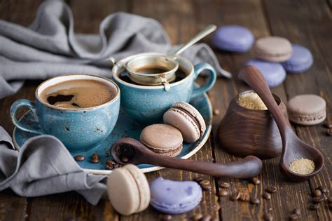 Pictures Macaron Coffee Cup Food Cookies 2000x1331
