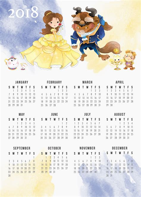 printable calendar 2018 disney free printable 2018 beauty and the beast calendar the