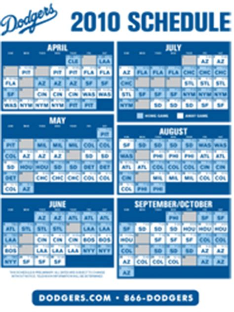 la dodgers schedule 2012 printable