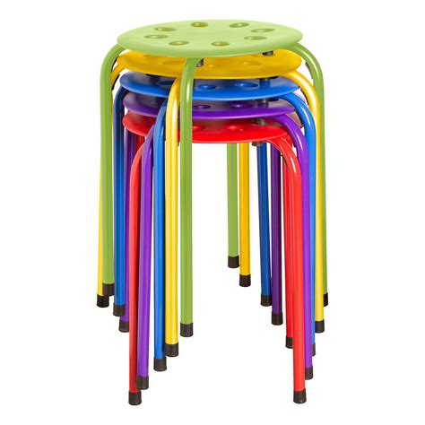 Norwood Commercial Furniture Plastic Stack Stools by Bright Multi Set 6 Children S Carpet
