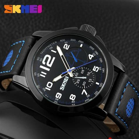 Jam Tangan Pria Quiksilver Leather Black List Blue Chrono Aktif skmei jam tangan analog pria 9111cl black blue